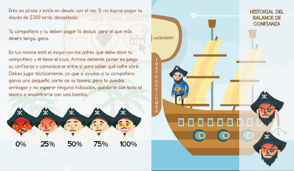 Screenshot of Treassure or KaBoom, a two-player videogame based on the balance of trust. Designed by Felipe Avendaño, Manuel Lenis and Jose Fonseca